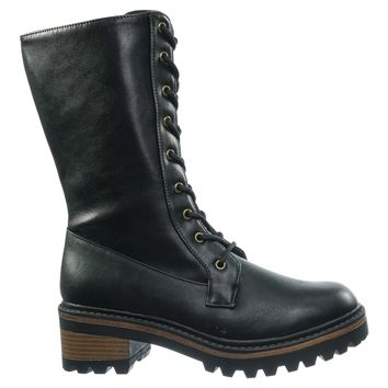 Edison02 Lace Up Combat Boots - Womens Military Threaded Lug Sole Shoes