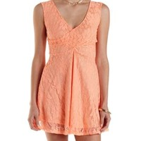 Neon Coral Lace Wrap Skater Dress by Charlotte Russe