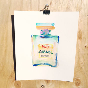 ORIGINAL Chanel Perfume Watercolor Painting - Pink Chanel - Chanel Art, Fashion Art, Fashion Illustration, Fashion Watercolor