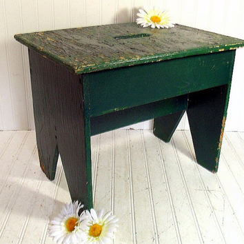 Primitive Forest Green Wooden OverSized FootStool - Vintage HandCrafted Rustic Seat - Large Chippy Emerald Paint Garden Bench / Plant Stand