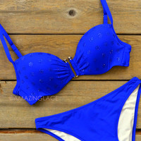 Starry Eyed Blue Rhinestone Hardware Bikini