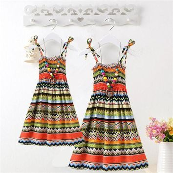 CREYWQA Summer Mother Daughter Dress Casual Boho Vestidos Mommy And Me Clothes Print Family Look Matching Beach Mom Girls Dresses