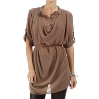 Mocha 3/4 Sleeve Cowl Neck Top With Belt