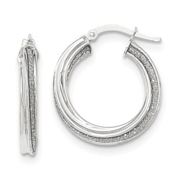 14K White Gold Polished Glitter Infused Twisted Small Round Hoop Earrings
