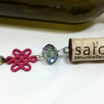 Upcycled Satori Cellars Wine Bottle Cork Keychain/Wine Glass Tassel Key Chain/Repurposed Vino Winery Cork/Iridescent Bead Keychain