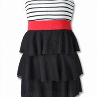 SWEET GIRL PIN UP STRIPE FRILL DRESS.