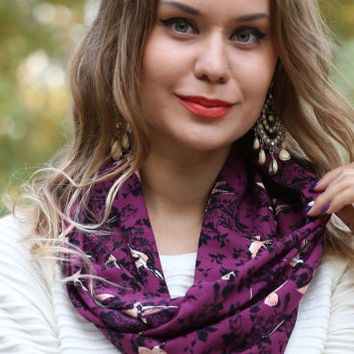 Bird Print Scarf, Purple Black Orange White Floral Scarf,Bird Print Women Scarf, Scarf for bird lovers,Fashion Scarf, Scarf Angel Bird Print