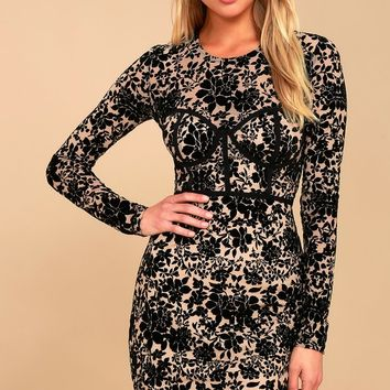 Cor-Set to Go Black and Nude Burnout Velvet Print Dress