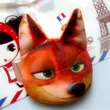 2016 NEW 3D Cat Face Coin Purse plush Zootopia Judy Nick Sloth Animal wallet Cartoon child Women Bag