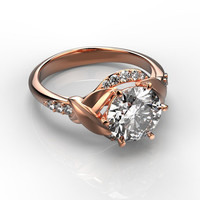 14K Rose Gold 2.00 CT Diamond Ring,unique engagement ring,Gold Leaf ring,Wedding Rings,Promise Rings,Ladys Jewelry,Engagment Rings