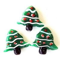 Green Christmas Tree Lampwork Glass Drilled  Charms Beads (2) Pieces 21mmx20mm