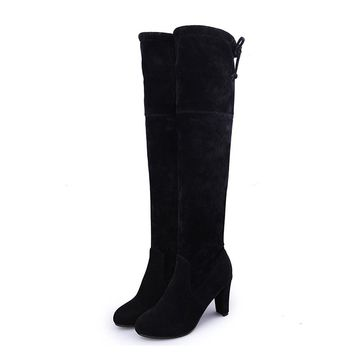 MCCKLE Thigh High Women's Winter Boots Faux Suede Leather High Heels Over The Knee Boots Women Plus Size Shoes Woman 34-43