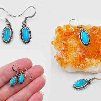 ON SALE Vintage Navajo Sterling Silver & Turquoise Pierced Earrings, Native American, Signed, Dangle, Drop, Oval, Rope, Blue Beauties! #c190
