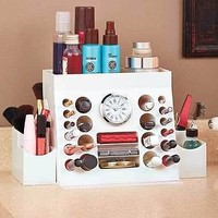 Lip-n-Eyes™ 3-in-1 Cosmetic Organizer w/ Clock Makeup Storage Bathroom Bedroom