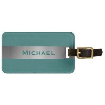 Teal and Silver. Bag Tag