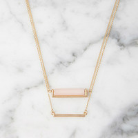 Faux Stone Bar Necklace Set