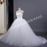 A-line/ Princess Strapless Cathedral Train tulle Over Satin Wedding Dress With Ruched Waist