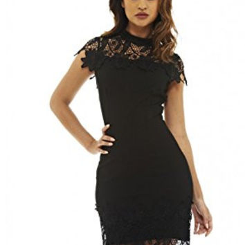 Black Crochet Lace Overlay Midi Dress