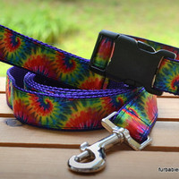 Tie Dye. Adjustable dog collar, leash, or set. Choose your size and options.
