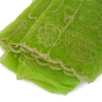 Vintage Drapes Lime Green Sheer Curtains with White Rose Design and Scalloped Edges