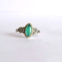 green onyx stone ring, silver ring, stone ring, 92.5 sterling silver, silver green onyx  ring, Natural  green onyx  stone Silver Ring,RNSL28