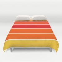 Red Orange Yellow Sunset Stripes Duvet Cover by 2sweet4words Designs | Society6