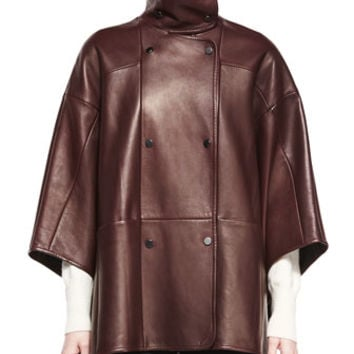 Vince Double-Breasted Leather Cape