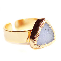 Druzy Triangle Gold Ring