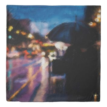 Lady With Umbrella In Rainy Night Moody Drawing Duvet Cover
