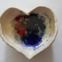 Heart Shaped Colorful Blue and Red Artist Signed Handmade Pottery Dish Bowl Clay Bowl Ashtray Hand Sculpted Original Art Piece