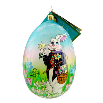 Christopher Radko Mr Bunny Sniffles Easter & Spring Glass Ornament