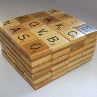 Scrabble coasters set of six by rbdesign on Etsy