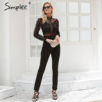Simplee Sexy o neck lace women jumpsuit romper Mesh hollow out backless  summer overalls Long sleeve high waist black playsuit