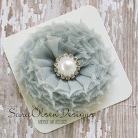 Rosette Hair Clip, Grey Gray, Swirl Chiffon Flower, Flower Hairbow, Frayed Chiffon Hairclip, Children's Hair Accessories, Girls Hairbow
