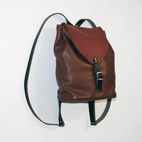 Genuine Leather Women \ Men Medium Brown \ Rustic Backpack Rucksack Handmade