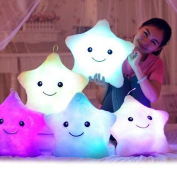 Colorful Body Pillow Star Glow LED Luminous Light Pillow Cushion Soft Relax Gift Smile Body Pillow Kids Birthday Xmas Gift decor