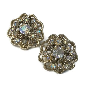 Vintage Aurora Borealis Rhinestone Clip Earrings Crystal Design Clip on Earrings Sparkly Jewelry