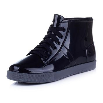 autumn winter lace up plastic rubber pvc jelly high top ankle boots school student preppy style women rain snow ski boots bootie