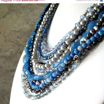 Statement Necklace Blue Layered by FiveLittleGems