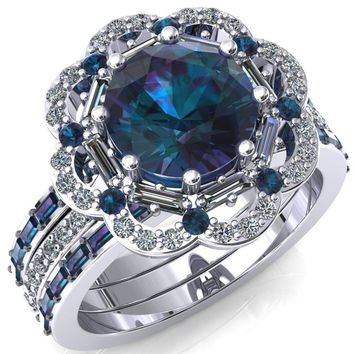 Camelia Round Alexandrite Accent Diamond and Alexandrite Halo Ring