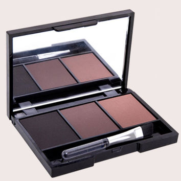 3 Colours Waterproof Eyebrow Powder Palette with Brush and Mirror