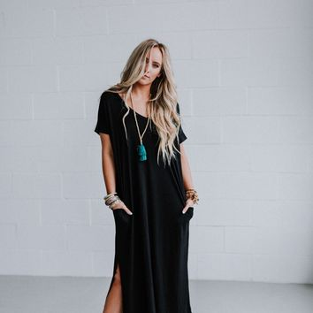 High Tides Side Slit Maxi Dress - Black