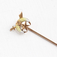 Antique 10k Rose Gold Shriner Enamel Stick Pin - Vintage Art Deco 1920s Masonic Fraternity Crescent Moon, Sword, Star Fine Jewelry