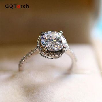 Round Brilliant Cut Engagement Rings For Women Solitario 1.2 Carat Cubic Zirconia Eight Heart Eight Arrows Fashion Jewelry