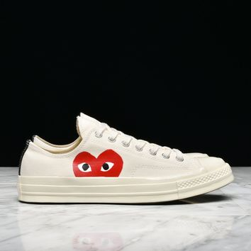Best Sale CDG PLAY X CONVERSE CHUCK TAYLOR ALL STAR '70 OX - WHITE