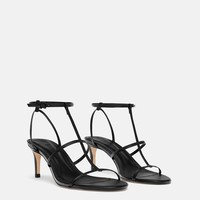 LEATHER HIGH HEELED STRAPPY SANDALSDETAILS