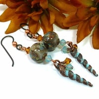 Greek Copper Shell Mudslide Frit Lampwork Opal Topaz Crystal Earrings