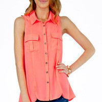 Pockets and Slits Button Up Top $30