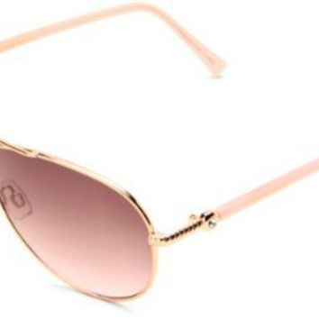 Steve Madden Womens S5187 RGLD Aviator Sunglasses,Rose Gold Frame/Smoke To Pink Gradient Lens,One Size