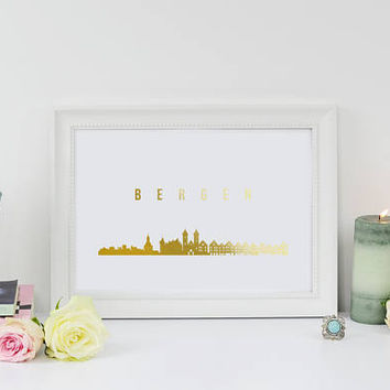 Bergen Print, Bergen Skyline, Bergen Cityscape, Gold Skyline Art, Real Gold Foil Print, Home Decor, Norway Skyline, Norway Print, Norway